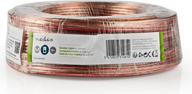 Nedis Speaker Cable | 2x 1.50 mm2 | 50.0 m | Wrap | Transparent, CAGW1500TR500