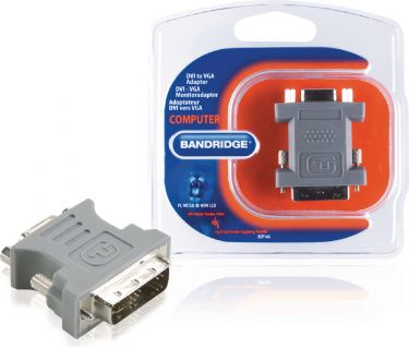 Bandridge DVI Adapter DVI-A 12+5-Pin Male - VGA Female Grey, BCP146