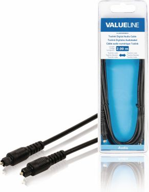 Valueline Digital Audio Cable TosLink Male - TosLink Male 2.00 m Black, VLAB25000B20