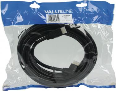 Valueline High Speed HDMI Cable with Ethernet HDMI Connector - HDMI Connector Angled Left 10.0 m Bla