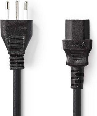 Nedis Power Cable | Type L Plug (IT) - IEC-320-C13 | 2.0 m | Black, CEGP11300BK20
