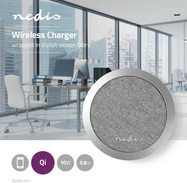 Nedis Fabric Wireless Charger | 2.0 A | 10 W | Grey, FSWC10W100GY