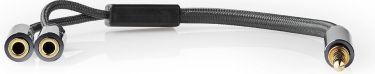 Nedis Headset-lydkabel | 3,5 mm hanstik – 2 x 3,5 mm hunstik | Metalgrå | Skærmet kabel, CATB22150GY