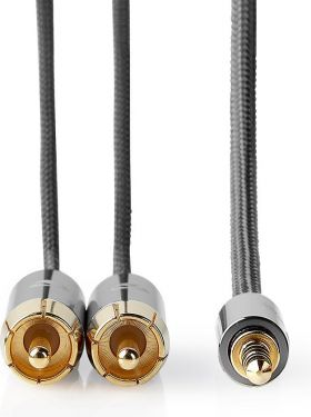 Nedis Stereolydkabel | 3,5 mm hanstik – 2 x RCA-hanstik | Metalgrå | Skærmet kabel, CATB22200GY50