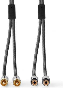 Nedis Stereolydkabel | 2x RCA-hanstik – 2 x RCA hunstik | Metalgrå | Skærmet kabel, CATB24205GY50