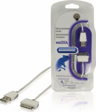 Bandridge Opladerkabel Apple Stik 30-Pin - USB A Han 1.00 m Hvid, BBM39100W10