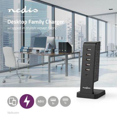 Nedis Fabric Desktop Family Charger | 5x USB 2.1 A (max) | 1x USB-C 30 W PD | Black, FSCSPD110BK