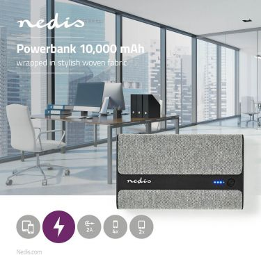 Nedis Powerbank med stof   10.000 mAh   2x USB-A 2 A (maks.)   Grå, FSPB10100GY