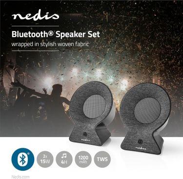 Nedis Fabric Bluetooth® Speaker   2x 15 W   Up to 4 Hours Playtime   True Wireless Stereo (TWS)   An