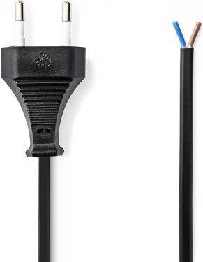 Nedis Strømkabel | Euro-stik – åben kabelende | 2,0 m | Sort, PCGP11700BK20