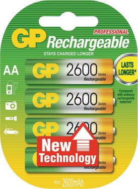 GP Rechargeable NiMH Battery AA 1.2 V 2600 mAh 4-Blister, 120270AAHCC4