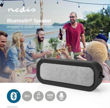 Nedis Bluetooth®-stofhøjttaler | 30 W | Op til 6 timers spilletid | Vandtæt | Grå/sort, FSBS100GY