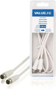 Valueline Antenna Cable F-Male Quick - F-Male Quick 1.00 m White, VLSB41300W10