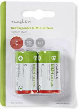 Nedis Rechargeable Ni-MH Battery C | 1.2 V | 4000 mAh | 2 pieces | Blister, BANM40HR142B