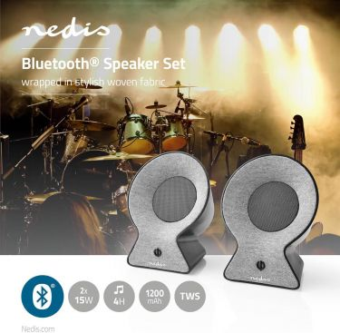 Nedis Bluetooth®-stofhøjttaler   2x 15 W   Op til 4 timers spilletid   True Wireless Stereo (TWS)  