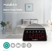 Nedis Digital Alarm Clock Radio   Wireless Phone Charging   FM   Bluetooth   Stereo, CLAR006BK