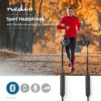 Nedis Sport Headphones   Bluetooth   In-Ear   Flexible Cord   Black, HPBT8000BK