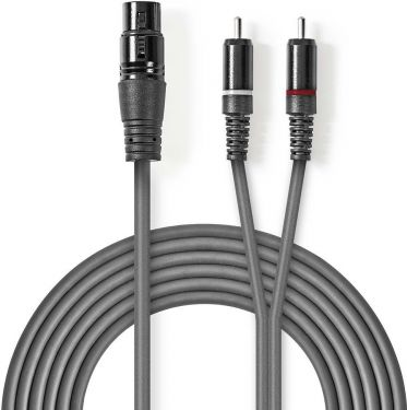 Nedis XLR Audio Cable | XLR 3-Pin Female - 2x RCA Male | 3.0 m | Grey, COTH15220GY30