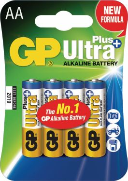 GP Alkaline Battery AA 1.5 V Ultra+ 4-Blister, 03015AUP-U4