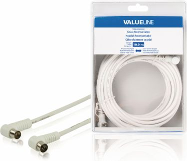 Valueline Coax Cable Angled Coax Male - Coax Female 10.0 m White, VLSB40100W100