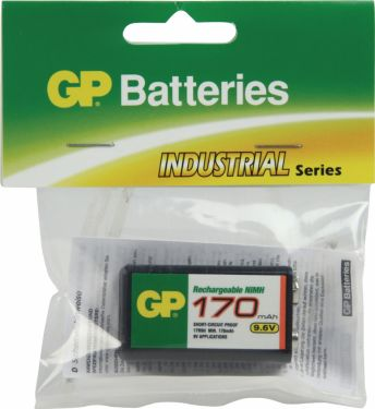 GP Genopladeligt Nimh Batteri E-Block 9.6 V Industrial 170 mAh 1-Plasticpose, 301.17R9H-C1