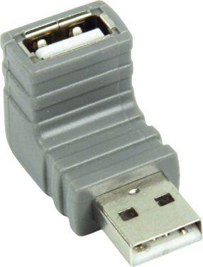 Bandridge USB 2.0 Adapter Angled 90° USB-A Male - USB A Female Grey, BCP465