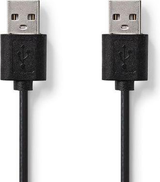 Nedis USB 2.0-kabel   A-hanstik   A-hanstik   2,00 m   Sort, CCGT60000BK20