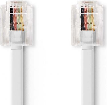 Nedis Telekommunikationskabel | RJ11-hanstik – RJ11-hunstik | 10,0 m | Hvid, TCGP90200WT100