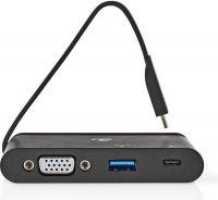 Nedis Computer Hub   USB Type-C   USB-C / USB 3.0 / VGA   Power Delivery 100 W   Black, TCARF220BK