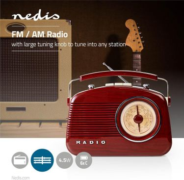 Nedis UKW-radio | 4.5 W | Bærehåndtag | Brun, RDFM5000BN