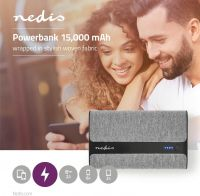Nedis Powerbank med stof   15.000 mAh   2x USB-A 2 A (maks.)   Grå, FSPB15100GY
