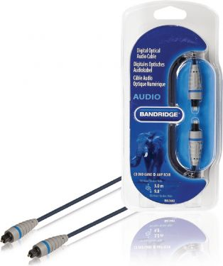 Bandridge Digital Audio Cable TosLink Male - TosLink Male 3.00 m Blue, BAL5603