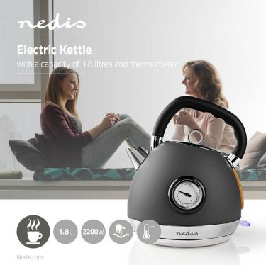Nedis Electric Kettle | 1.8 L | Soft-Touch | Grey, KAWK530EGY