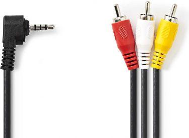 Nedis 3,5 mm AV-kabel   3,5 mm AV-hanstik   3 x RCA-hanstik   2,0 m   Sort, CVGP22400BK20