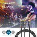 Nedis Kabel til subwoofer | RCA-hanstik - 2 x RCA-hanstik | 3,0 m | Metalgrå flettet, CATB24000GY30