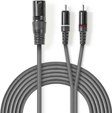 Nedis XLR Audio Cable | XLR 3-Pin Male - 2x RCA Male | 1.5 m | Grey, COTH15200GY15