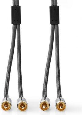 Nedis Stereolydkabel | 2x RCA-hanstik – 2 x RCA-hanstik | Metalgrå | Skærmet kabel, CATB24200GY10