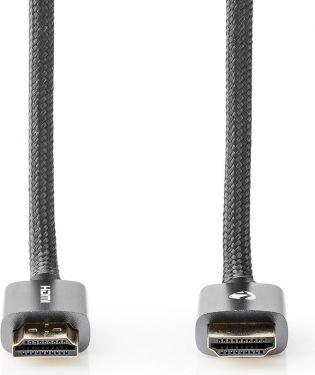 Nedis High Speed HDMI-kabel med Ethernet   HDMI™-stik – HDMI™-stik   Metalgrå   Skærmet kabel, CVTB3
