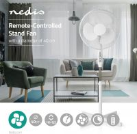 Nedis Remote-Controlled Stand Fan | Adjustable Height | 40 cm Diameter | 3-Speed | White, FNST12FWT4