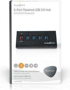 Nedis USB-hub   5 Porte   USB 3.0-drevet   QC3.0-opladningsport   5 Gbps   Aluminium, UHUBUP3510BK