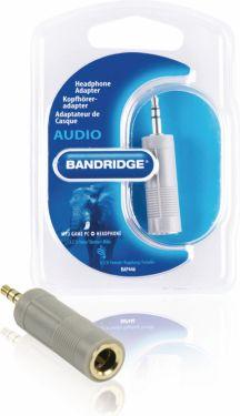 Bandridge Stereo Audio Adapter 3.5 mm Male - 6.35 mm Female Grey, BAP446