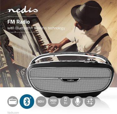 Nedis UKW-radio | 60 W | Bluetooth® | Sort/sølv, RDFM5300BK