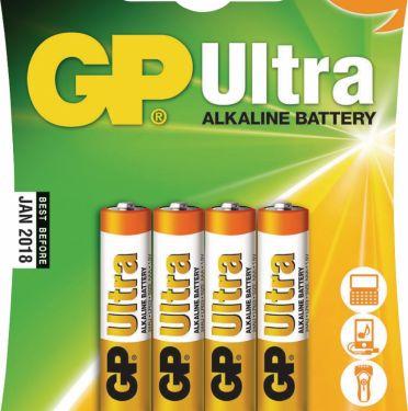 GP Alkaline Batteri Aaa 1.5 V Ultra 4-Bobler, 03024AU-U4
