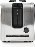 Nedis Toaster | 2 Wide Slots | Stainless Steel, KABT210EAL
