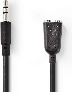 Nedis Stereo Audio Cable | 3.5 mm Male - 2x 3.5 mm Female | 0.2 m | Black, CAGP22100BK02