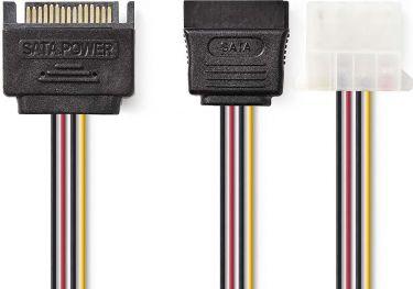 Nedis Internt strømkabel | SATA-hanstik med 15 ben | SATA-hunstik med 15 ben + Molex-hunstik | 0,15