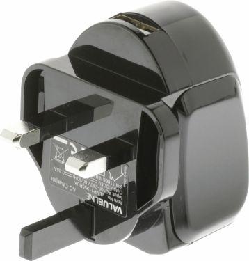 Valueline Wall Charger USB 1-Output 2.4 A 2.4 A USB Black, VLMP11955BUK