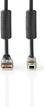 Nedis USB 2.0-kabel | A-hanstik - B-hanstik | 5,00 m | Grå, CCGC61100AT50