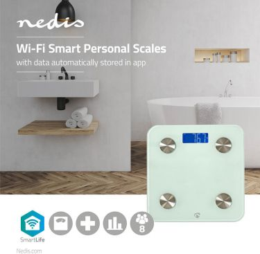 Nedis Wi-Fi Smart Personal Scales | BMI, Fat, Water, Bones, Muscle, Protein | Tempered Glass | 8 Use