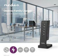 Nedis Fabric Desktop Family Charger   5x USB 2.1 A (max)   1x USB-C 30 W PD   Black, FSCSPD110BK